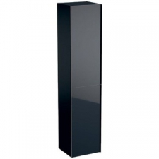 Geberit Acanto tall cabinet with two doors: B=38cm, H=173cm, T=36cm, black / matt coated, black / shiny glass