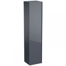 Geberit Acanto tall cabinet with two doors: B=38cm, H=173cm, T=36cm, lava / matt coated, lava / shiny glass