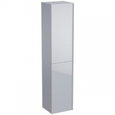 Geberit Acanto tall cabinet with two doors: B=38cm, H=173cm, T=36cm, sand grey / matt coated, sand grey / shiny glass