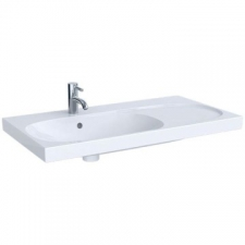 Geberit Acanto washbasin with right shelf surface, easy fastening: B=90cm, T=48.2cm, Tap hole=centred, Overflow=visible, Shelf space=right, white