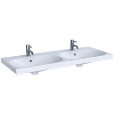 Geberit Acanto double washbasin, easy fastening: B=120cm, T=48.2cm, Tap hole=centred, Overflow=visible, white