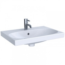 Geberit Acanto washbasin, small projection: B=60cm, T=42.2cm, Tap hole=centred, Overflow=visible, white