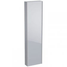 Geberit Acanto tall cabinet with one door: B=45cm, H=173cm, T=17.4cm, matt coated / sand grey, shiny glass / sand grey