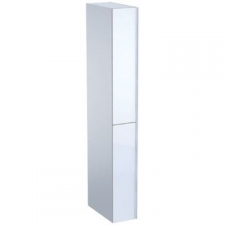 Geberit Acanto tall cabinet with two cargos: B=22cm, H=173cm, T=47.6cm, white / high-gloss coated, white / shiny glass