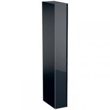 Geberit Acanto tall cabinet with two cargos: B=22cm, H=173cm, T=47.6cm, black / matt coated, black / shiny glass