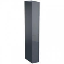 Geberit Acanto tall cabinet with two cargos: B=22cm, H=173cm, T=47.6cm, lava / matt coated, lava / shiny glass