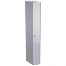 Geberit Acanto tall cabinet with two cargos: B=22cm, H=173cm, T=47.6cm, sand grey / matt coated, sand grey / shiny glass