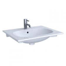 Geberit Acanto vanity basin: B=60cm, T=48cm, Tap hole=centred, Overflow=visible, white