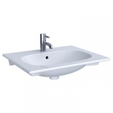 Geberit Acanto vanity basin: B=75cm, T=48cm, Tap hole=centred, Overflow=visible, white
