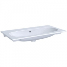 Geberit Acanto vanity basin: B=90cm, T=48cm, Tap hole=without, Overflow=visible, white