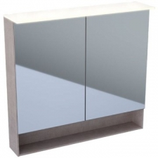 Geberit Acanto mirror cabinet with functional lighting, two doors: B=90cm, H=83cm, T=21.5cm, Plug type=CEE 7/16, mystic oak / wood-textured melamine, outside mirrored