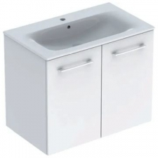 Geberit Selnova Square set of vanity basin, slim rim, with cabinet, two doors