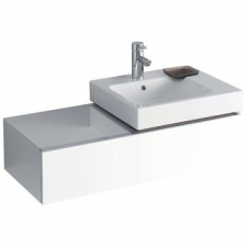 Geberit iCon cabinet for washbasin, with one drawer and shelf surface: B=89cm, H=24cm, T=47.7cm, high-gloss coated / white