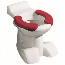 Geberit Bambini floor-standing WC for children, washdown, lion paw design, with seat pads: T=50cm, white, carmine red
