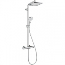 Hansgrohe - Hansgrohe - Crometta E 240 1jet / 27281000 / Chrome - ShowerPipe Combination with Exposed Thermostat Shower Mixer - Spray Mode(s) : Rain