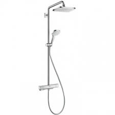 Hansgrohe - Hansgrohe - Croma E 280 1jet / 27630000 / Chrome - ShowerPipe Combination with Exposed Thermostat Shower Mixer - 15mm / Spray Mode(s) : Rain