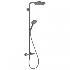 Hansgrohe - Hansgrohe - RainDance Select S 240 1jet / 27633340 / Brushed Black Chrome - ShowerPipe Combination with Exposed Thermostat Shower Mixer - Spray Mode(s) : PowderRain