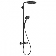 Hansgrohe - Hansgrohe - RainDance Select S 240 1jet / 27633670 / Matt Black - ShowerPipe Combination with Exposed Thermostat Shower Mixer - Spray Mode(s) : PowderRain