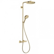 Hansgrohe - RainDance Select S 240 1jet ShowerPipe Combination with Exposed Thermostat Shower Mixer Polished Gold Optic