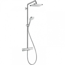 Hansgrohe - Hansgrohe - Croma E 280 1jet / 27660000 / Chrome - ShowerPipe Combination with Exposed Thermostat Shower Mixer - EcoSmart / Spray Mode(s) : RainAir