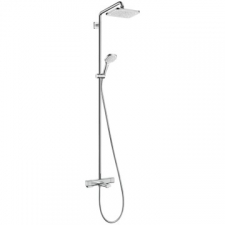 Hansgrohe - Hansgrohe - Croma E 280 1jet / 27687000 / Chrome - ShowerPipe Combination with Exposed Thermostat Bath Mixer - EcoSmart / Spray Mode(s) : RainAir