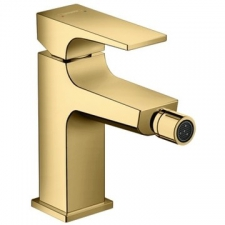 Hansgrohe - Metropol Bidet Mixer Single Lever 1-Hole with Push-Open Clicker Waste Set Polished Gold Optic