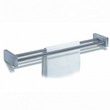 Zack - Fresco Double Towel Rail 620 x 125 x 60mm Brushed Stainless Steel