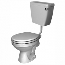Lecico - School Low-Level Pan w/ Atlas FF Cistern & LL Bottom Inlet & Mech & MDF Seat White