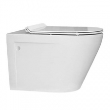 Lecico - Zambezi Round Rimless Wall-Hung Pan & Soft Close Seat White