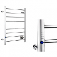 Stunning Bathrooms - Heated Towel Rail 8 Bar Left w/ Switch & RDT 700x530mm Polished Stainless Steel
