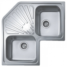 Classic Angular Sink Drop-In Double End Bowl with Wastes 830x830x187mm Polished Stainless Steel