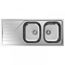 Universe 2B 1D Sink Drop-In Double Bowl without Wastes 1160x500x160mm Polished Stainless Steel